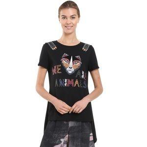 Desingual Tiger Face T-shirt Top